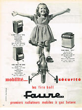 PUBLICITE ADVERTISING  1962   FAURE    radiateur mobile à gaz