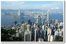 Hong Kong China - Victoria Harbor - Travel Asia City Skyline Print - NEW POSTER