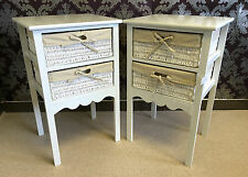 Set 2 White Bedside Tables Wicker Storage Baskets Bedroom Cabinet Nightstand
