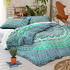100% Cotton 4 Piece Indian Ombre Mandala Duvet Bed in a Bag Queen Bedding Set