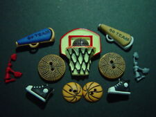 11 PIECE BASKETBALL BUTTONS CRAFTS SEWING SCRAPBOOKING EMBELLISHMENTS
