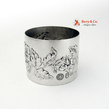 Floral Repousse Napkin Ring 800 Silver Italy B Iohannes