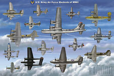 USAAF Warbirds of WW II Laminated Education Military Airplane Chart Poster 24x36