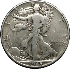 1945 WALKING LIBERTY Half Dollar Bald Eagle United States Silver Coin i44635