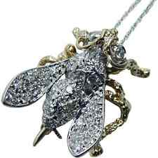 Vintage Diamond 14K Gold Bumble Bee Insect Pendant Brooch Animal Estate Jewelry