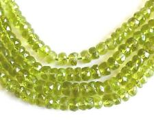 "15"" STRAND PERIDOT BEADS FACETED RONDELLE 4.5 - 6 MM NATURAL GMESTONE #3480"