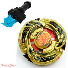 GOLD L-DRAGO DESTROY BEYBLADE Masters Fusion Metal Fight+GRIP+BLUE SPIN LAUNCHER