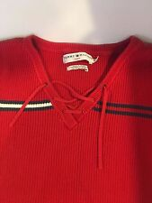 Women's Tommy Hilfiger Vintage Short Sleeve Sweater Classic Red white blue Large