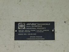 Vintage 70's Skidoo Olympique Snowmobile Tunnel Tag Plate