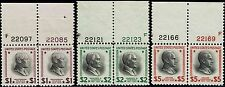 #832-34 TOP PLATE NUMBER PAIRS 1938 $1, $2 AND $5 PRESIDENTIAL ISSUES MINT-OG/NH