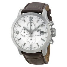 Tissot T-Sport PRC 200 Chronograph White Dial Brown Leather Mens Watch
