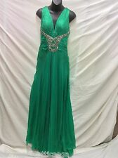Sherri Hill Green Bejeweled Cross Strap Back Prom Evening Dress Womens 10 NWD&T