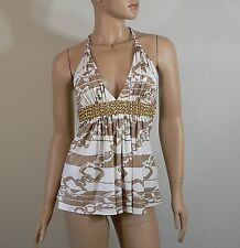 Sky Brand Gold Chain Foil Print Top with Leather Belt Size Small