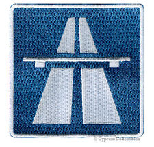 AUTOBAHN ROAD SIGN PATCH iron-on NO SPEED LIMIT embroidered BIKER EMBLEM GERMAN