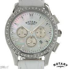 ROTARY LS02911/07 Women's Chrono Date Watch, Crystals, Mother of Pearl, Leather