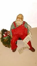 VTG Possible Dreams Clothtique Santa Claus Taking A Nap Overworked List