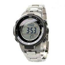 NEW MEN'S CASIO PROTREK TITANIUM ATOMIC SOLAR ALARM CHRONO COMPASS PRW-3000T-7DR