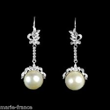 Sensational very showy long 17mm mabe pearl & ggg (42 total) dangle earrings M-F