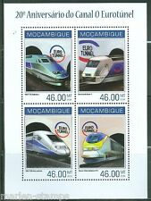 MOZAMBIQUE 20th ANNIVERSARY EURO TUNNEL TRAIN  SHEET MINT NH