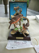 JONATHON BYRON BISQUE PORCELAIN ROBINS WOOD BASE-C.O.A.-ORIGINAL BOX
