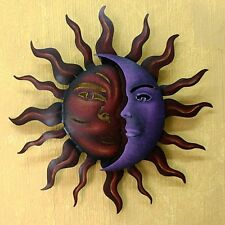 Steel Metal Wall Art Abstract Sun Moon Painted Indoor Outdoor Hanging Decor Home