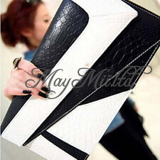 Women PU Leather Handbag Serpentine Clutch Envelope Shoulder Evening Bag Purse