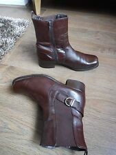 LADIES BROWN LEATHER ANKLE BOOTS SIZE 6 EU 39  K BY CLARKS