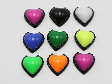 100 Mixed Enamel Color Dotted Rhinestone Flatback Acrylic Heart Cabochons 12mm