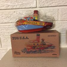"TUG BOAT USA POP POP TIN STEAMER Colorful Pop Pop Boat Tin Toy Candle ""boiler"""