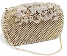 Unique Clasp Gold Diamante Crystal Diamond Evening bag Clutch Purse Party Prom