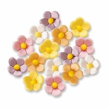 24 SMALL EDIBLE SUGAR FLOWERS CAKE DECORATIONS - WHITE YELLOW PINK PURPLE ORANGE