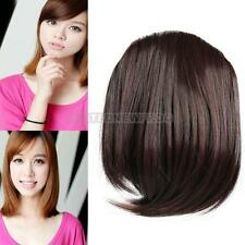 Fashion Women Girl Clip on Front Inclined Bang Fringe Hair Extensions Dark Brown