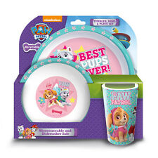 Official licensed product Paw Patrol girls 3PC dîner set rose assiette bol gobelet