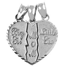 925 Sterling Silver Big Sis, Little Sis, Mom Pendants
