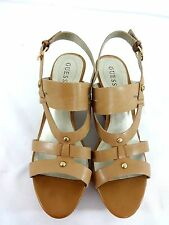 $99 NEW W BOX GUESS STUDS WOMENS TAN LEATHER STRAPPY PLATFORM HEELS SIZE US 11 M