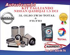 KIT TAGLIANDO 4 FILTRI + 5L OLIO TOTAL 5W30 NISSAN QASHQAI 1.5 DCI 76/78/81 KW