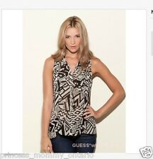 GUESS Mia Button up Shirt Tribal Print Geometric Blouse Size S