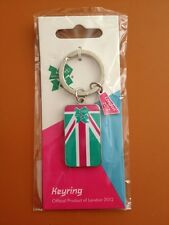 London 2012 Olympics Pink Green & White Flag Keyring