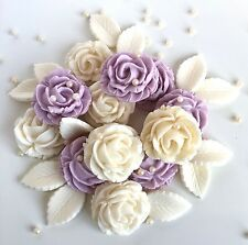 Lilac & Ivory Roses Bouquet Wedding Flowers Edible Cake Decorations Toppers