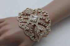 Women Gold Metal Chains Bracelet Silver Rhinestones Beads Bridal Wedding Jewelry