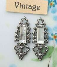 #1674B Vintage Filigree Charms Rhinestone Bagette Crystal Silver Findings Earrin