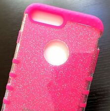 For iPhone 7+ Plus - HYBRID HARD & SOFT ARMOR CASE COVER HOT PINK CLEAR GLITTER