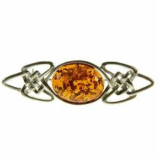COGNAC BALTIC AMBER STERLING SILVER 925 BROOCH PIN JEWELLERY JEWELRY