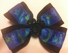 "Girls Hair Bow 4"" Wide The Haunted Mansion Black Minnie Flatback French Barrette"