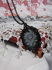 #JR819 MOURNING gray grey ROSE STEAMPUNK GOTHIC Black BRIDAL Cameo Necklace