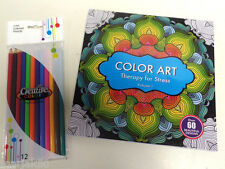 COLORING BOOK AND COLORED PENCILS OVER 60 BEAUTIFUL DESIGNS