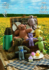 King Cole Teddy Bears Picnic Knitting Pattern 9008:DK/ ChunkyTeddies & Cup Cakes