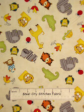 Wilmington Prints Sunshine Zoo Baby Animals Toss Cream #14568 Cotton Fabric YARD