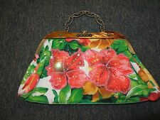 WOMENS FLORAL BEADED HANDBAG WITH METAL HANDLE & CHAIN STRAP **SO PRETTY**