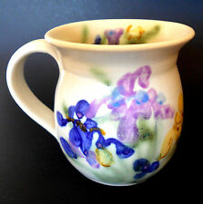 Clouds Folsom Ceramic Art Floral Irises Coffee Cup Hand Paint Signed 2000 -12 oz
